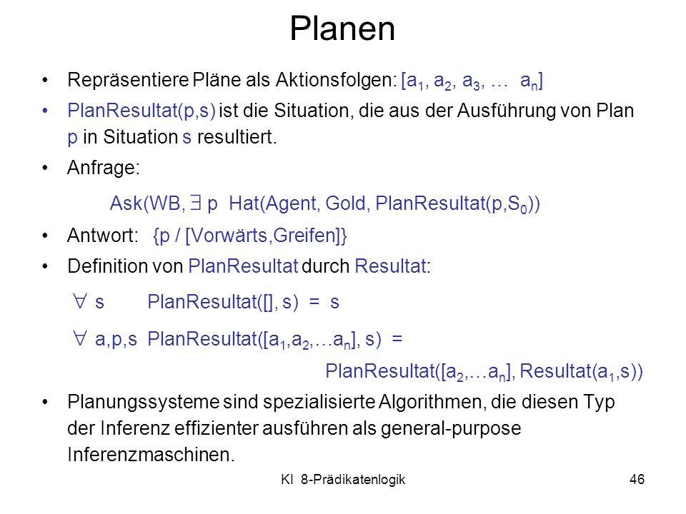 Planen Repräsentiere Pläne als Aktionsfolgen: [a1, a2, a3, … an]